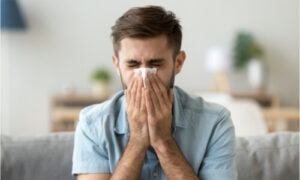 The man suffers from nasal congestion.