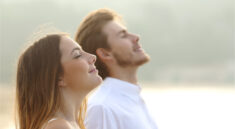 The couple is doing breathing exercises every morning.